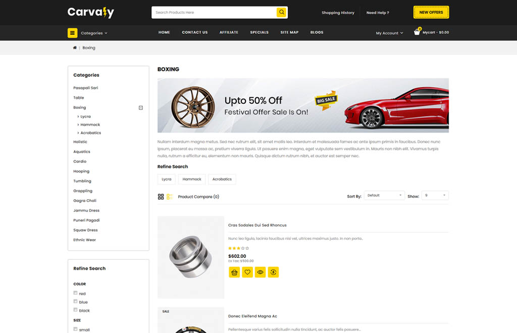 Carvaly - Autopart Store OpenCart Template