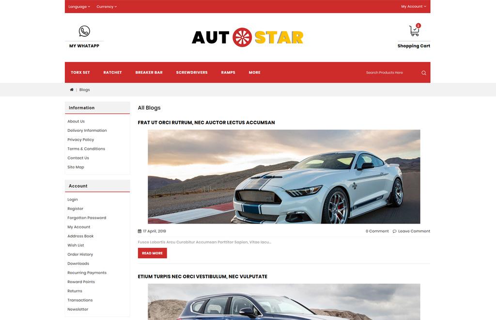 Autostar -Carparts Store OpenCart Template