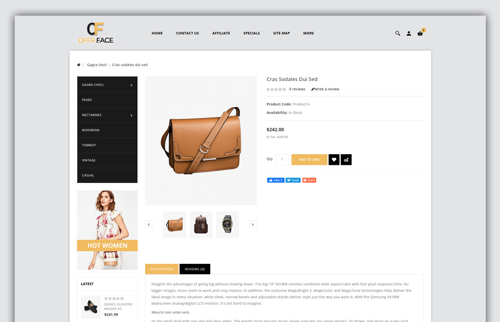 Offerface - Fashion Store OpenCart Template