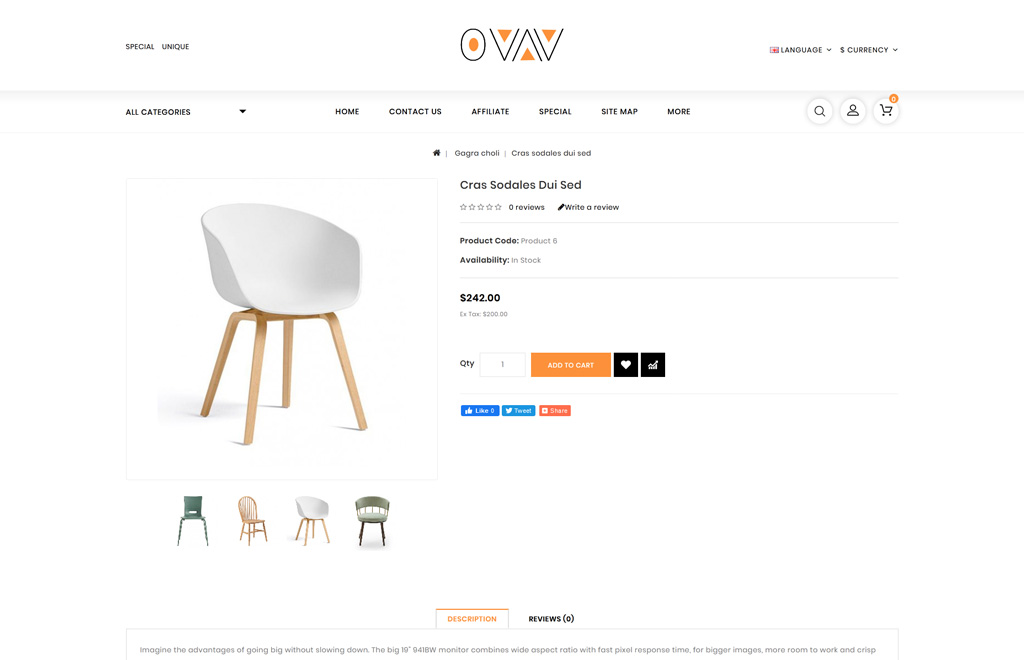 Ovav - Furniture Store OpenCart Template
