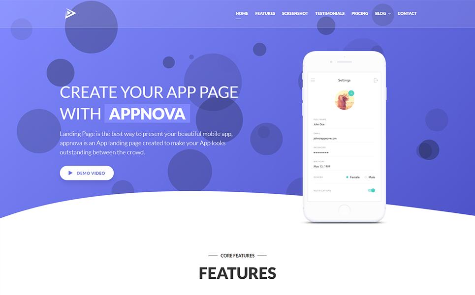 Appnova - App Landing Page Template