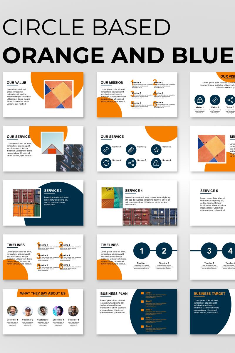 Circle Based Orange Presentation Powerpoint Template