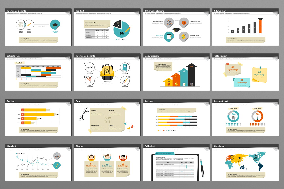 Writing paper and Writing Sets PowerPoint Template