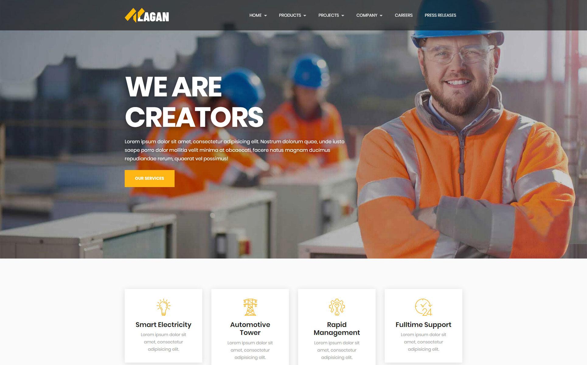 Lagan - Multipurpose Industrial & Factory Landing Page Template
