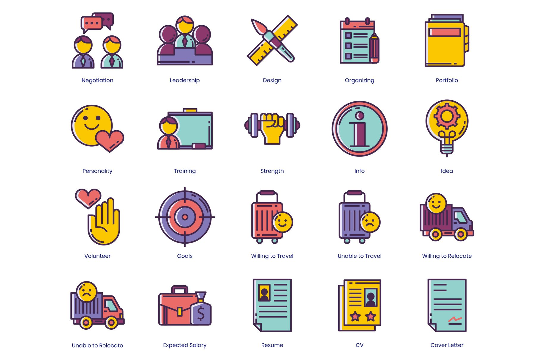 50 resume icons icon sets template 90596