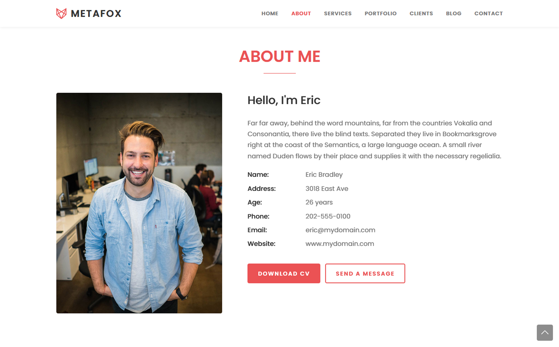Metafox Responsive Bootstrap Portfolio Landing Page Template