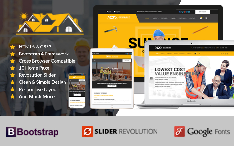 Sunrise Construction & Builder Company Responsive HTML Landing Page Template