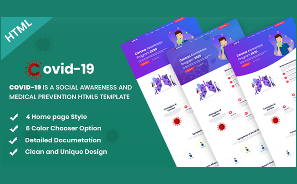Covid-19 Social Awareness and Medical Prevention Landing Page Template