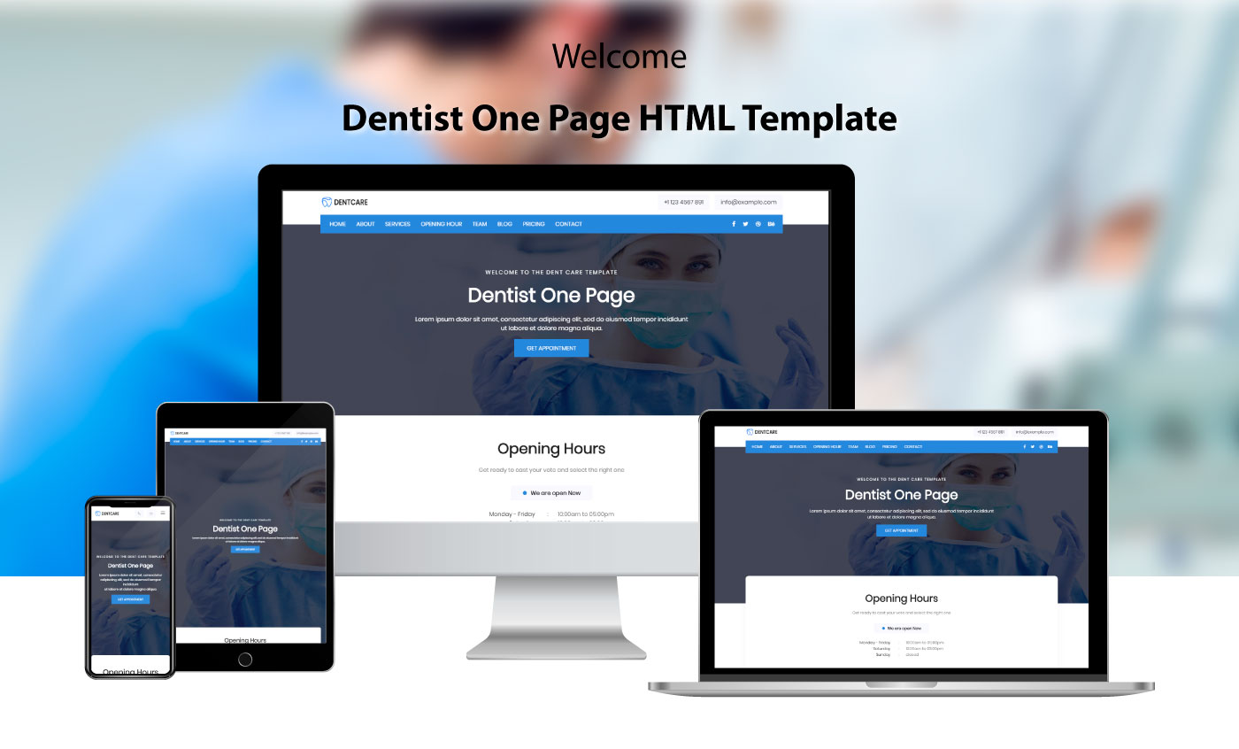 Dent Care - Dentist Landing Page Template