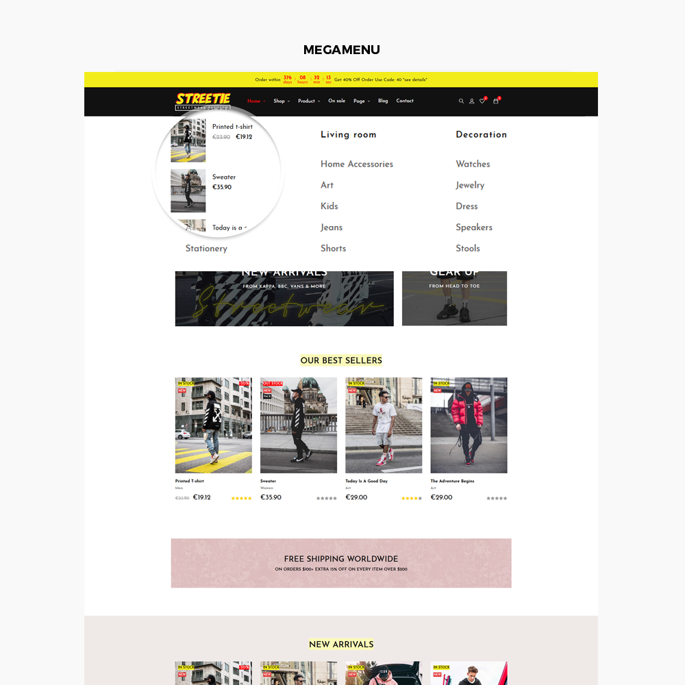TMSTREETIE - STREETWEAR FASHION PrestaShop Theme